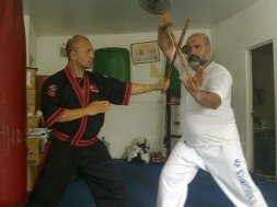 Master Jimson Dearos Teaching Senior Karate Members